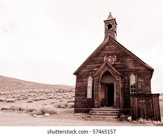black and white of abandoned church in bodie, ca ghost town