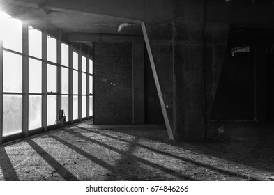 Black and white abandoned interior. Building construction