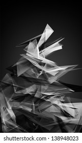 black and white abstract 3d edges