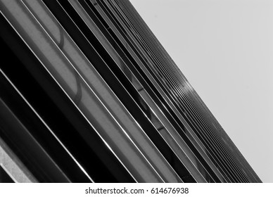black and white abstract photo of an office building details