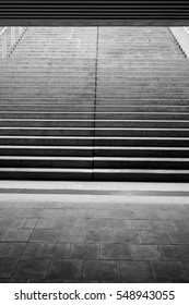 Black and white abstract photo showing modern stairs.