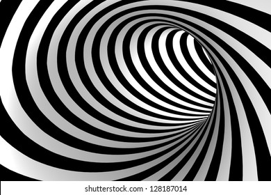 Black and white abstract tunnel.