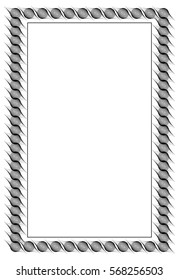 Black and white abstract vertical frame. Guilloche border for certificate or diploma, isolated.Raster clip art.