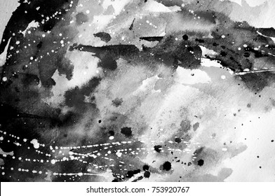 Black and white abstract watercolor texture. Modern painting. Avant-garde art. Reminiscent of street graffiti. Underground, grunge. Monochrome pattern. Acrylic, watercolor. Textures