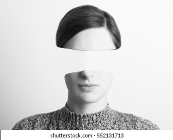 Black and White Abstract Woman Portrait Of Identity Theft Concept