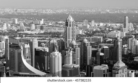 Black and White, Aerial view, Bangkok business area before sunset, Thailand