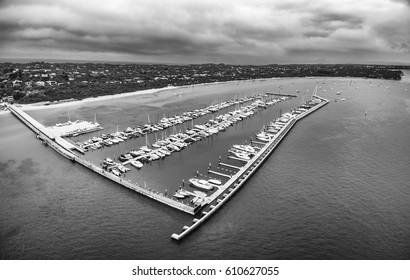 Black and white aerial view of Blairgowrie Marina on Mornington Peninsula, Melbourne Australia