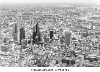Black and white aerial view of London.