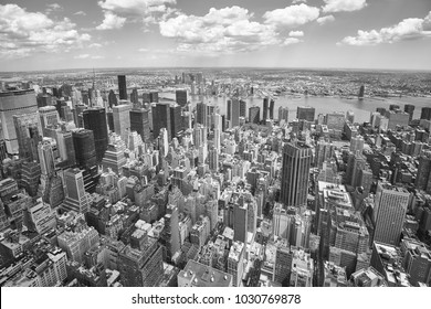 Black and white aerial view of the Manhattan, New York City, USA.