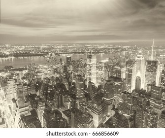 Black and white aerial view of Manhattan skyline, New York City.