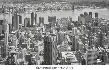 Black and white aerial view of New York City Manhattan skyline, USA.
