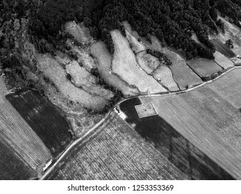 Black and White Aerial view of roads and Pastures in Sete Cidades on Sao Miguel in the Azores.