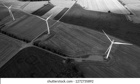 Black and White Aerial View of Windfarm