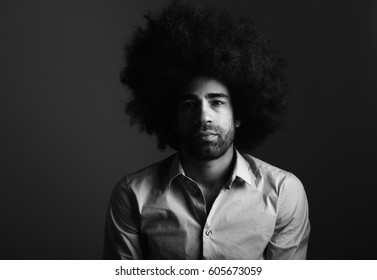 Black and white afro man