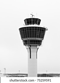 black and white airport tower in munich germany