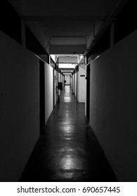 Black & white alley in a hostel in one of universities in Malaysia (Universiti Putra Malaysia)