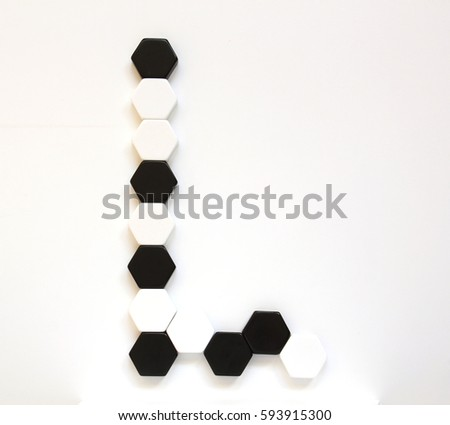 Black White Alphabet Letters Made Hexagonal Stock Photo Edit Now