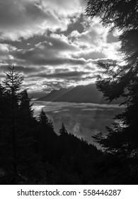 Black and white Alpine sunrise