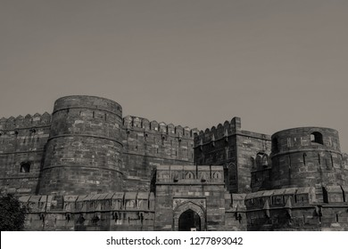 Black and White Amar Singh Gate of Agra Fort, Agra, India.