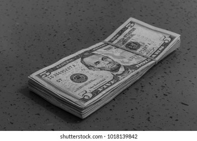 black and white american dollar