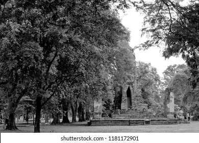 Black and White Ancient Pagoda in archaeological site at Ayutthaya Thailand.