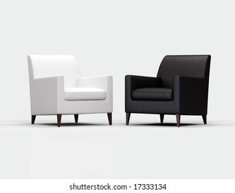 Black and white armchair on white background