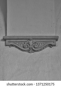 Black and White Art Deco Building Facade.  Turn of the century stucco design on an arched building with room for copy.
