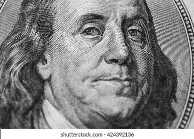 black and white art photography monochrome, background of money, hundred dollar bills front side. new hundred-dollar bil face, evolution of bill in one hundred dollars, Benjamin Franklin