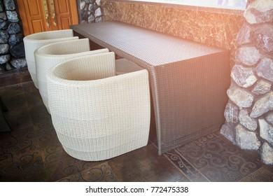 Black and White Artificial rattan chair and table outdoor