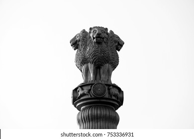 Black and white Ashoka pillar