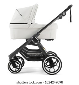 Black & White Baby Pram Stroller Isolated on White. Pushchair and Carrycot with Canopy and Swivel Wheels. Baby Transport Side View. Infant Carriage Seat. Travel System with Elevators and Raincover