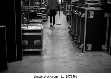 Black and white backstage behind the scenes of shows and worship events.