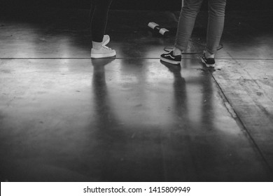 Black and white backstage documentary photography of live entertainment