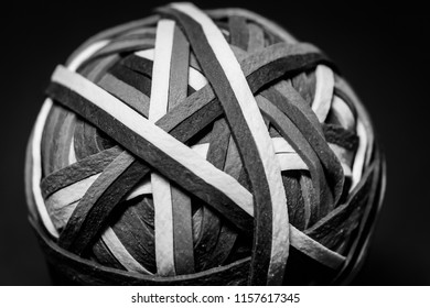 Black and White Ball of Rubberbands