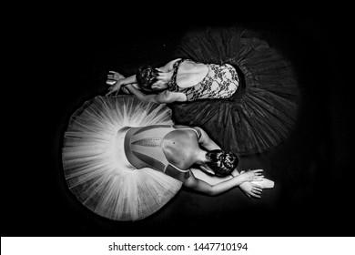 Black and white ballerinas, on a black and white art photo