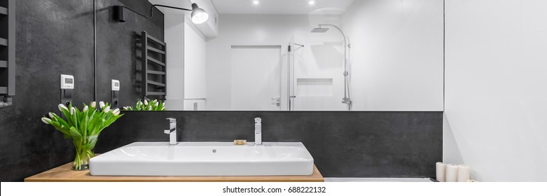 Black and white bathroom with big mirror and countertop double basin, panorama