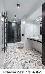 Black and white bathroom with shower and beautiful pattern floor tiles