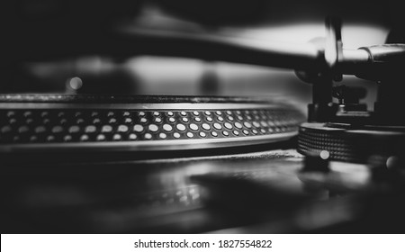 Black and white beautiful close up view of a professional DJ turntables