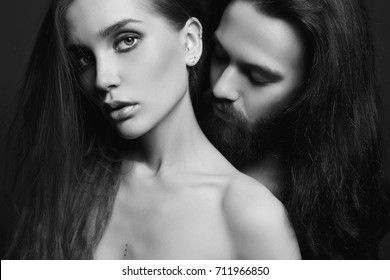 black and white beautiful lovely couple.sexy woman and handsome man.boy and girl kissing