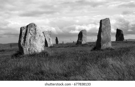Black and White Beautiful Rocks on Field Landscape of Scottish Highlands, Rough Texture Background