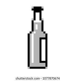 Black and white beer bottle pixel art