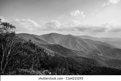 black and white blue ridge mountains