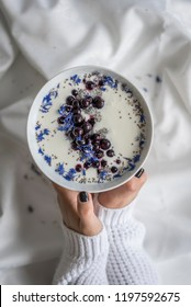 Black, White Blue Yogurt Bowl