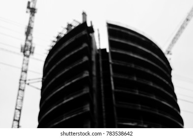 black and white blur city view