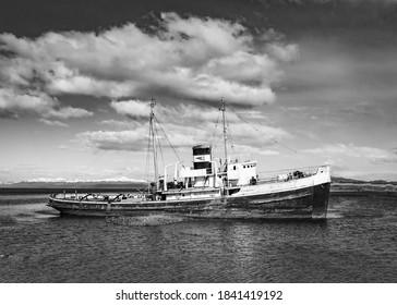 Black and White Boat at Ushuaia, Argentina