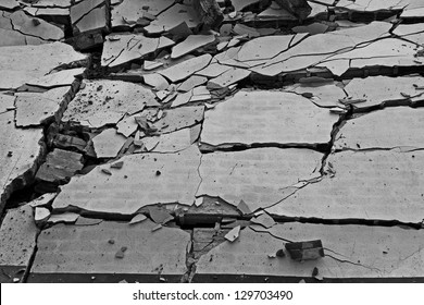 Black and white of broken wall background