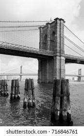 Black and white of Brooklyn Bridge and Manhattan Bridge in the far distant, New York.