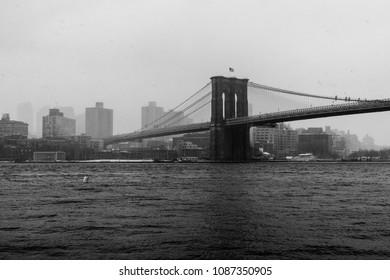 Black and white Brooklyn Bridge in the snow
