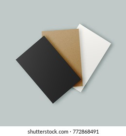 Black white brown kraft paper business stock illustration 772868491 black white and brown kraft paper business card templates set realistic clean hipster paper reheart Image collections