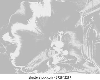 Black and white Buddha image painting